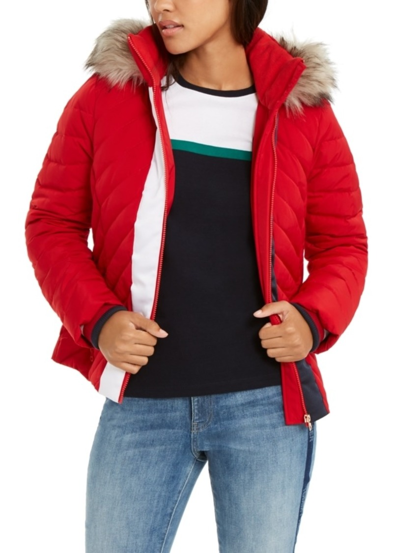 Tommy Hilfiger Faux-Fur-Trim Hooded Puffer Jacket