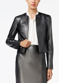 Tommy Hilfiger Faux-Leather Open-Front Blazer