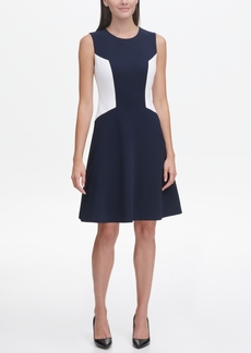 Tommy Hilfiger Fit and Flare Scuba Crepe Colorblock Dress