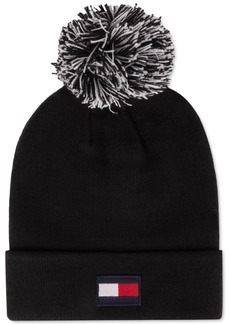 Tommy Hilfiger Flag Patch Beanie with Two-Tone Pom