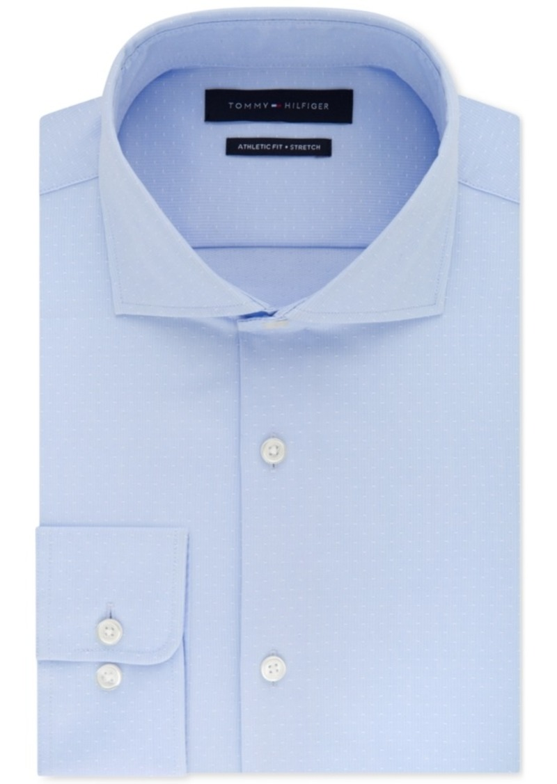 Tommy Hilfiger Tommy Hilfiger Mens Fitted Stretch Flex Collar Blue