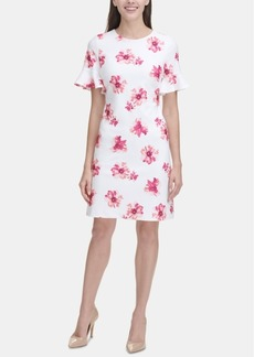 Tommy Hilfiger Floral Bell-Sleeve Scuba Dress