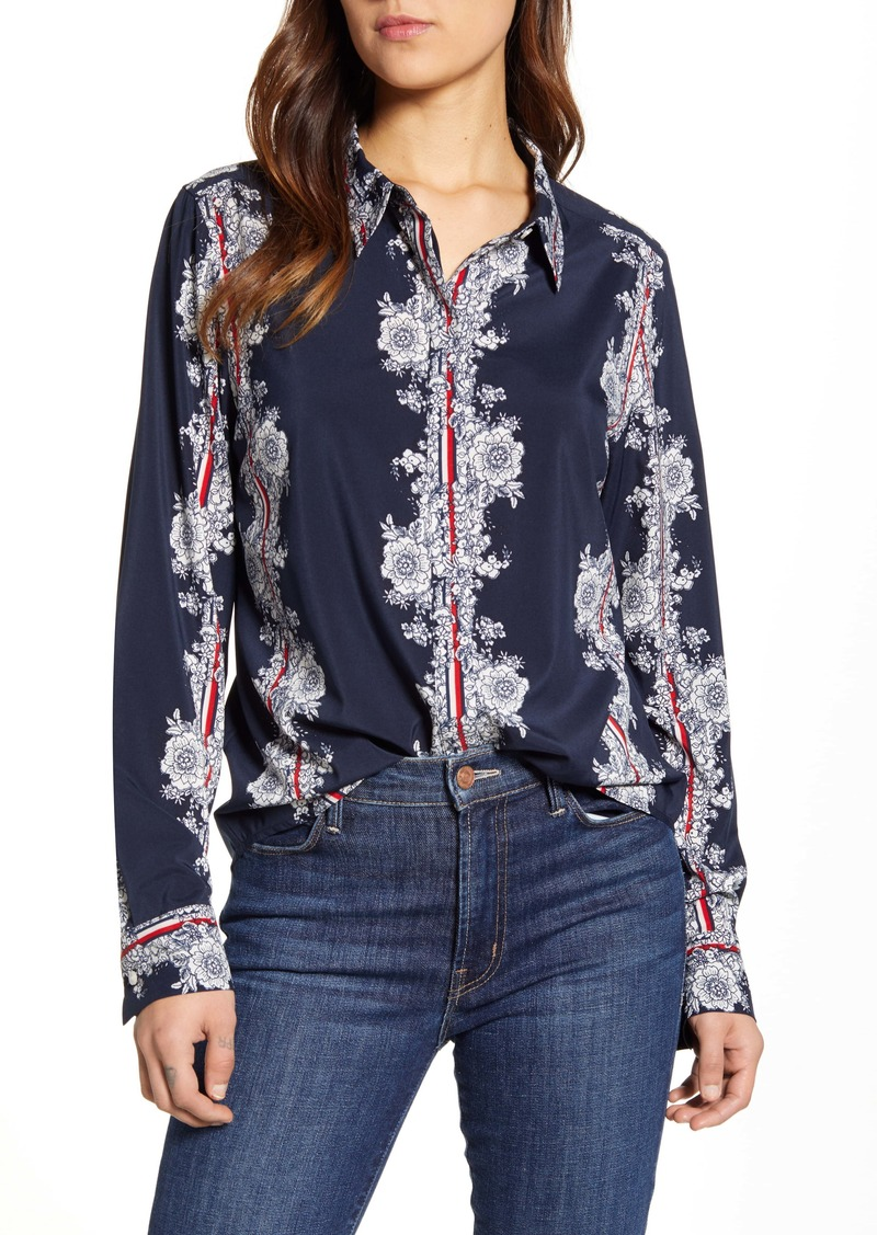 Tommy Hilfiger Floral Calligraphy Stripe Long Sleeve Shirt