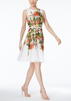 Tommy Hilfiger Floral-Print Belted Fit & Flare Dress