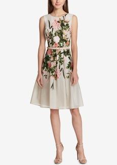 Tommy Hilfiger Floral-Print Belted Fit & Flare Dress