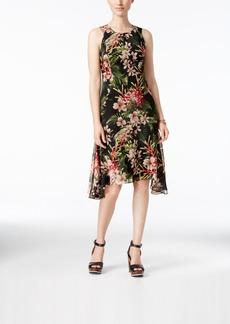 Tommy Hilfiger Floral-Print Handkerchief-Hem Chiffon Dress