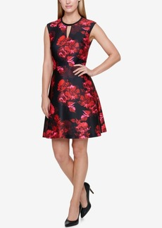 Tommy Hilfiger Floral-Print Keyhole Fit & Flare Dress