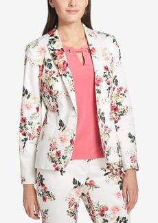 Tommy Hilfiger Floral-Print One-Button Blazer