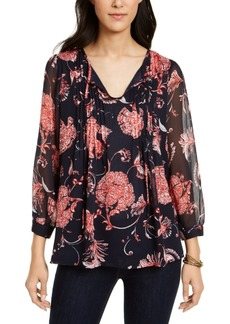 Tommy Hilfiger Floral-Print Pintucked Blouse
