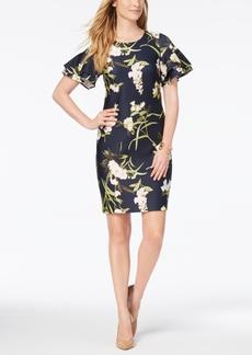 Tommy Hilfiger Floral-Print Ruffle-Sleeve Scuba Dress