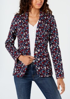 Tommy Hilfiger Floral-Print Single-Button Blazer, Created for Macy's
