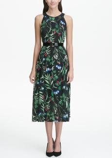 Tommy Hilfiger Floral-Printed Belted Halter Midi Dress