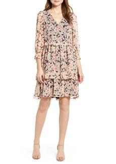 Tommy Hilfiger Floral Ruffle Waist Chiffon Dress