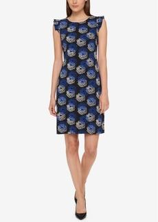 Tommy Hilfiger Flutter-Sleeve Floral Sheath Dress