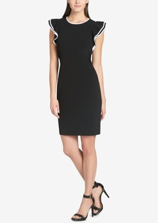 Tommy Hilfiger Flutter-Sleeve Scuba Sheath Dress