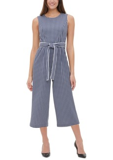 Tommy Hilfiger Gingham-Print Cropped Jumpsuit