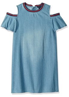 Tommy Hilfiger Girls' Big Flowy Denim Dress Chelsea wash