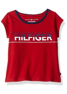 Tommy Hilfiger Girls' Little TH Icon Tee Regal red
