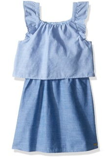 Tommy Hilfiger Girls' Little Two Tone Tiered Chambray Dress  6X
