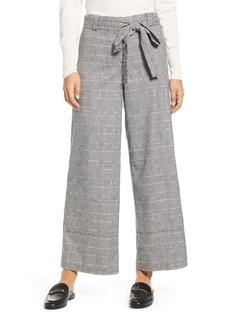 Tommy Hilfiger Glen Plaid Belted Wide Leg Pants