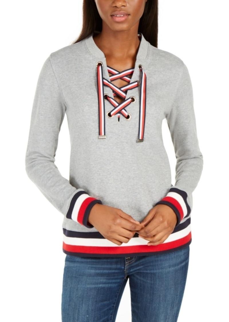 Tommy Hilfiger Grommet Lace-Up Top