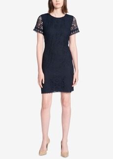 Tommy Hilfiger Grommet-Trimmed Lace Sheath Dress