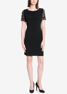 Tommy Hilfiger Grommet-Trimmed Lace-Sleeved Sheath Dress