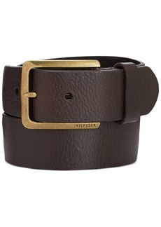 Tommy Hilfiger Heavy Brass Buckle Leather Belt