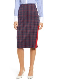 Tommy Hilfiger Herringbone Plaid Pencil Skirt