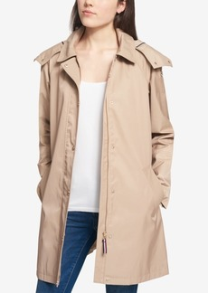 Tommy Hilfiger Water-Resistant Hooded A-Line Raincoat