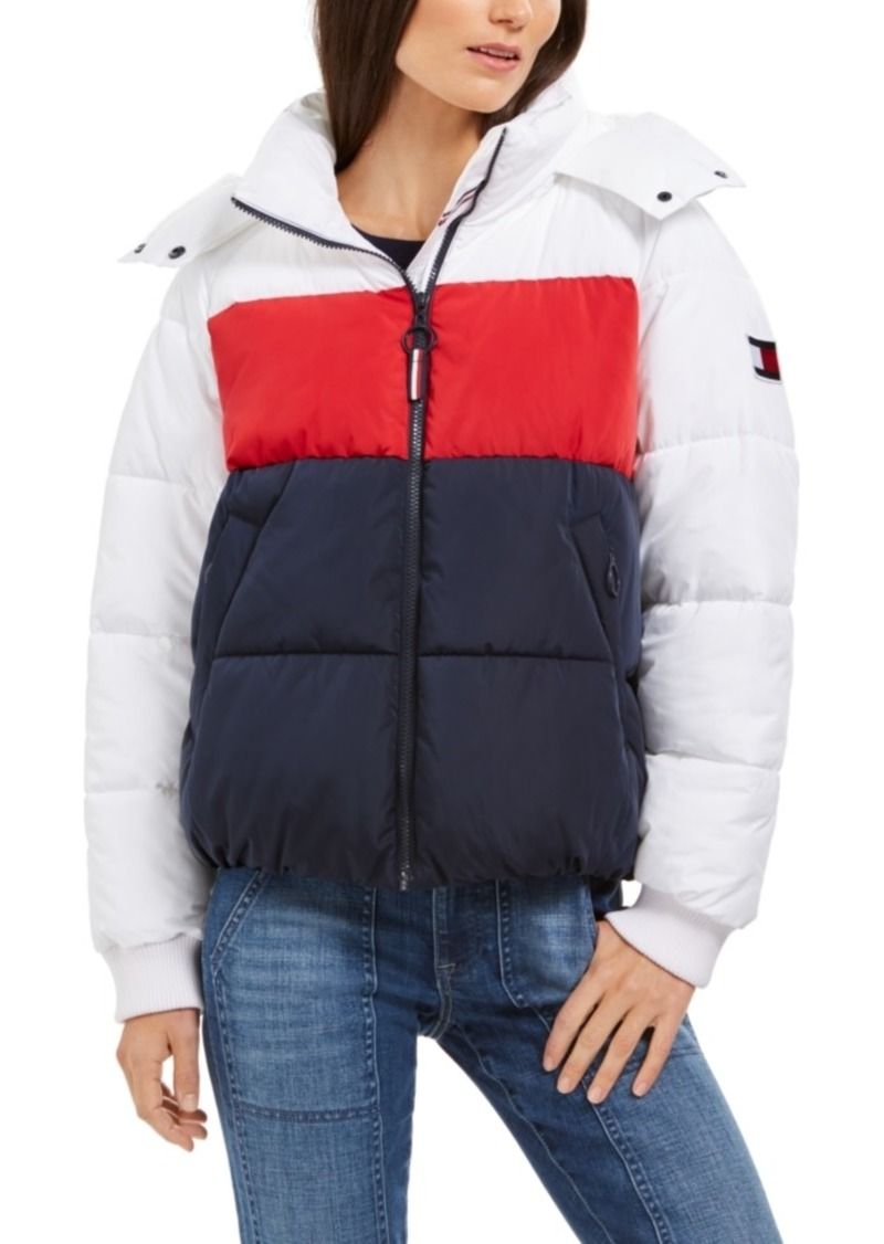 Tommy Hilfiger Hooded Colorblocked Puffer Coat