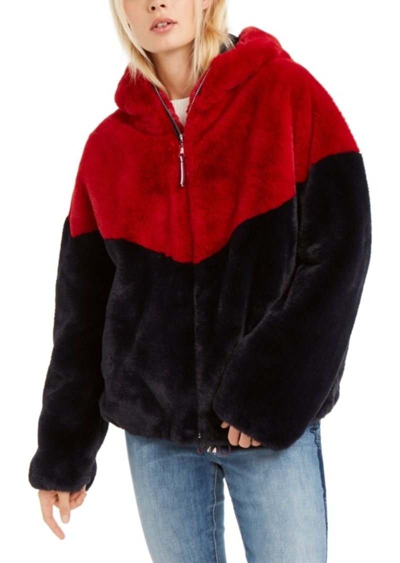 Tommy Hilfiger Hooded Faux-Fur Teddy Jacket, Created For Macy's