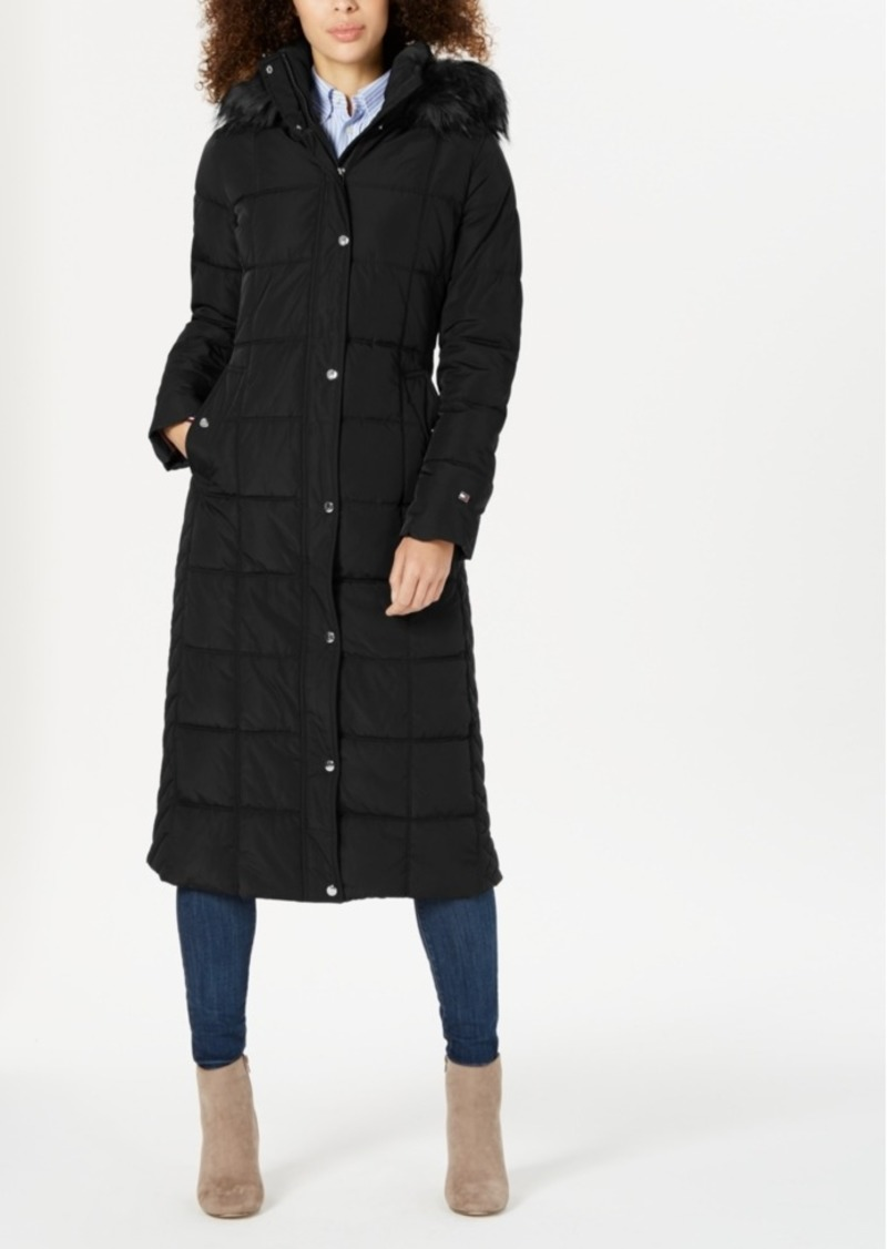 Tommy Hilfiger Hooded Faux-Fur-Trim Maxi Puffer Coat