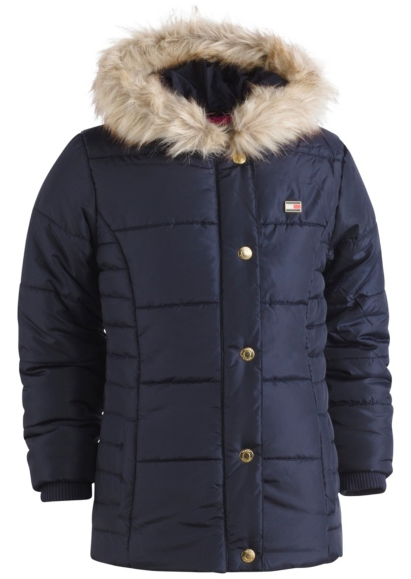 modern and elegant in fashion amazing quality pre order Hooded Peacoat Puffer Coat with Faux-Fur Trim, Toddler Girls