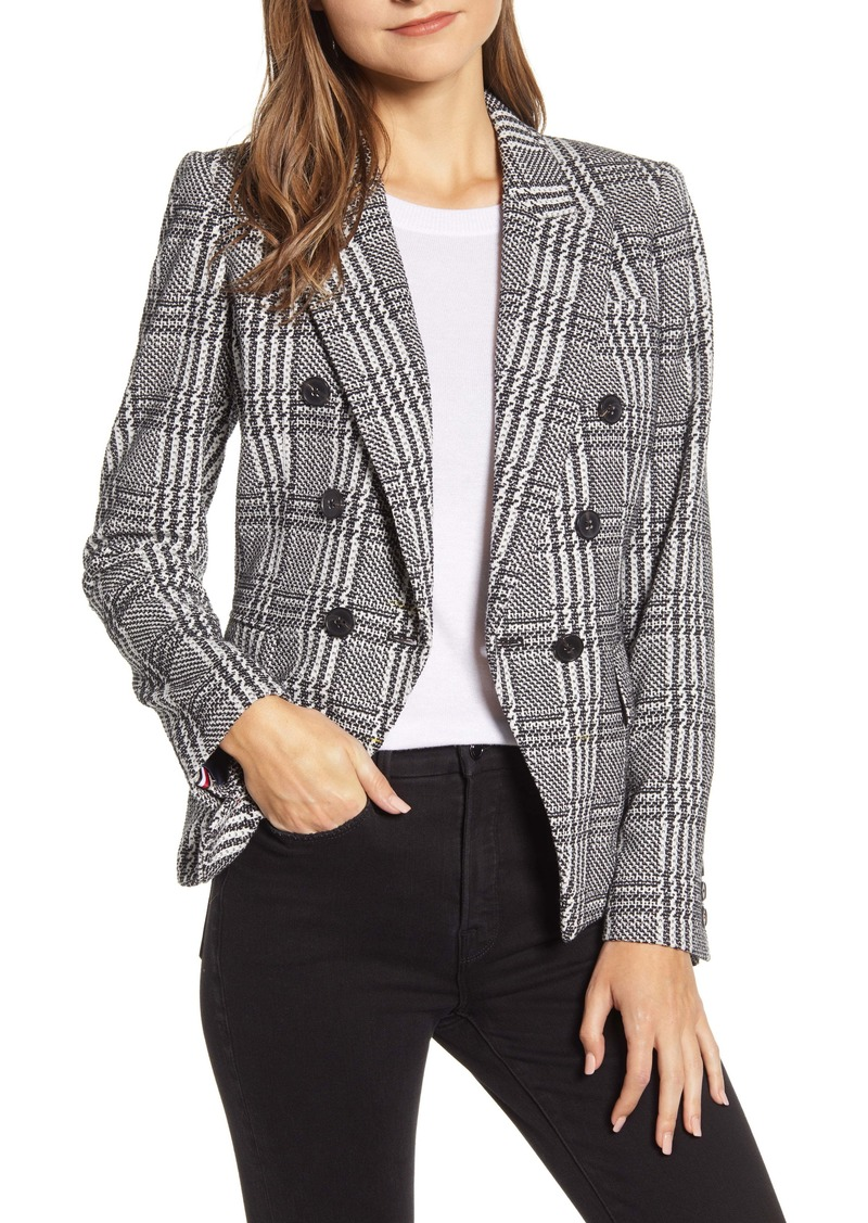 Tommy Hilfiger Houndstooth Check Double Breasted Cotton Blend Jacket
