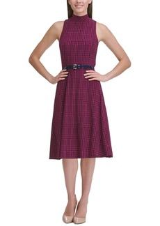 Tommy Hilfiger Jersey Mock-Neck Plaid Dress