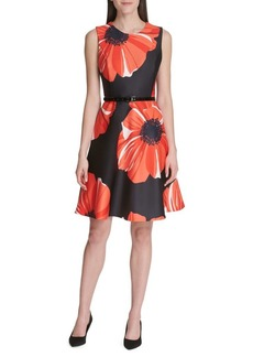 Tommy Hilfiger Jumbo Poppy Scuba Belted Fit-&-Flare Dress