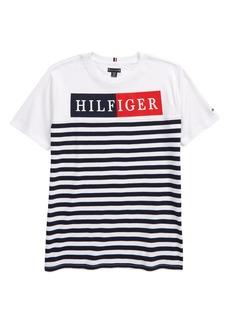Tommy Hilfiger Kids' Mixed Logo Stripe T-Shirt (Big Boy)