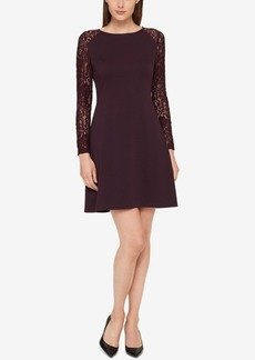 Tommy Hilfiger Lace-Contrast A-Line Dress