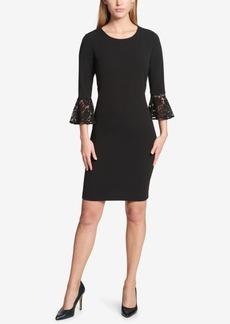 Tommy Hilfiger Lace-Cuff Bell-Sleeve Sheath Dress