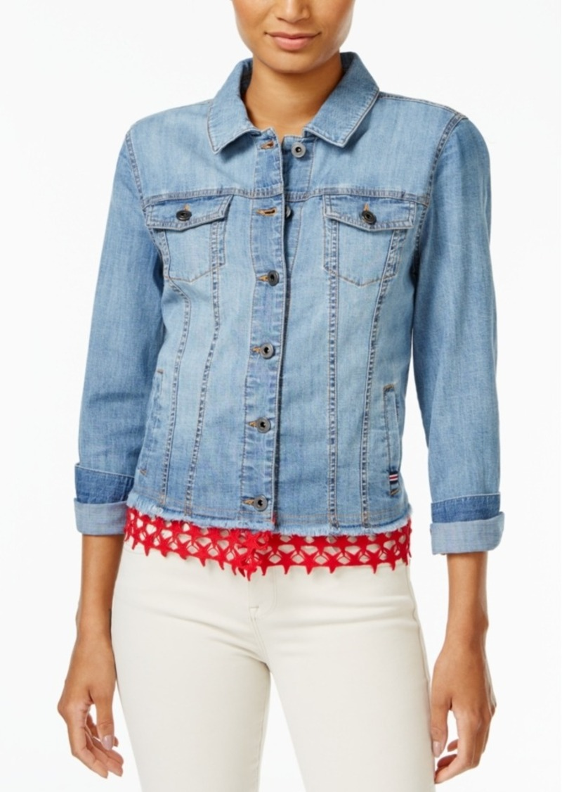 Tommy Hilfiger Lace-Trim Denim Jacket, Only at Macy's