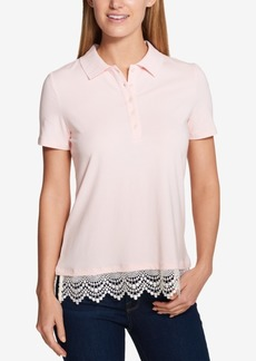 Tommy Hilfiger Lace-Trim Polo Top, Created for Macy's