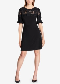 Tommy Hilfiger Lace-Trimmed Ruffle-Sleeve Dress