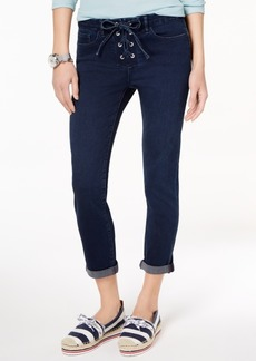 Tommy Hilfiger Lace-Up Cuffed Straight-Leg Jeans