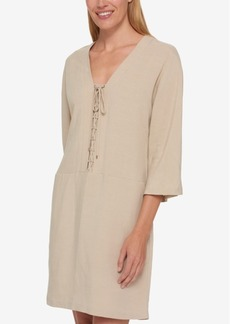 Tommy Hilfiger Lace-Up Shift Dress, Only at Macy's