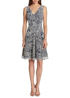 Tommy Hilfiger Large Daisy Knit Sheer Fit-and-Flare Dress