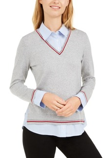 Tommy Hilfiger Layered-Look Cotton Sweater, Created for Macy's
