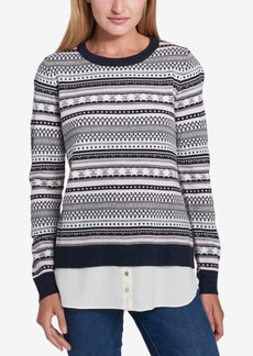 Tommy Hilfiger Layered-Look Fair Isle Sweater, Created for Macy's