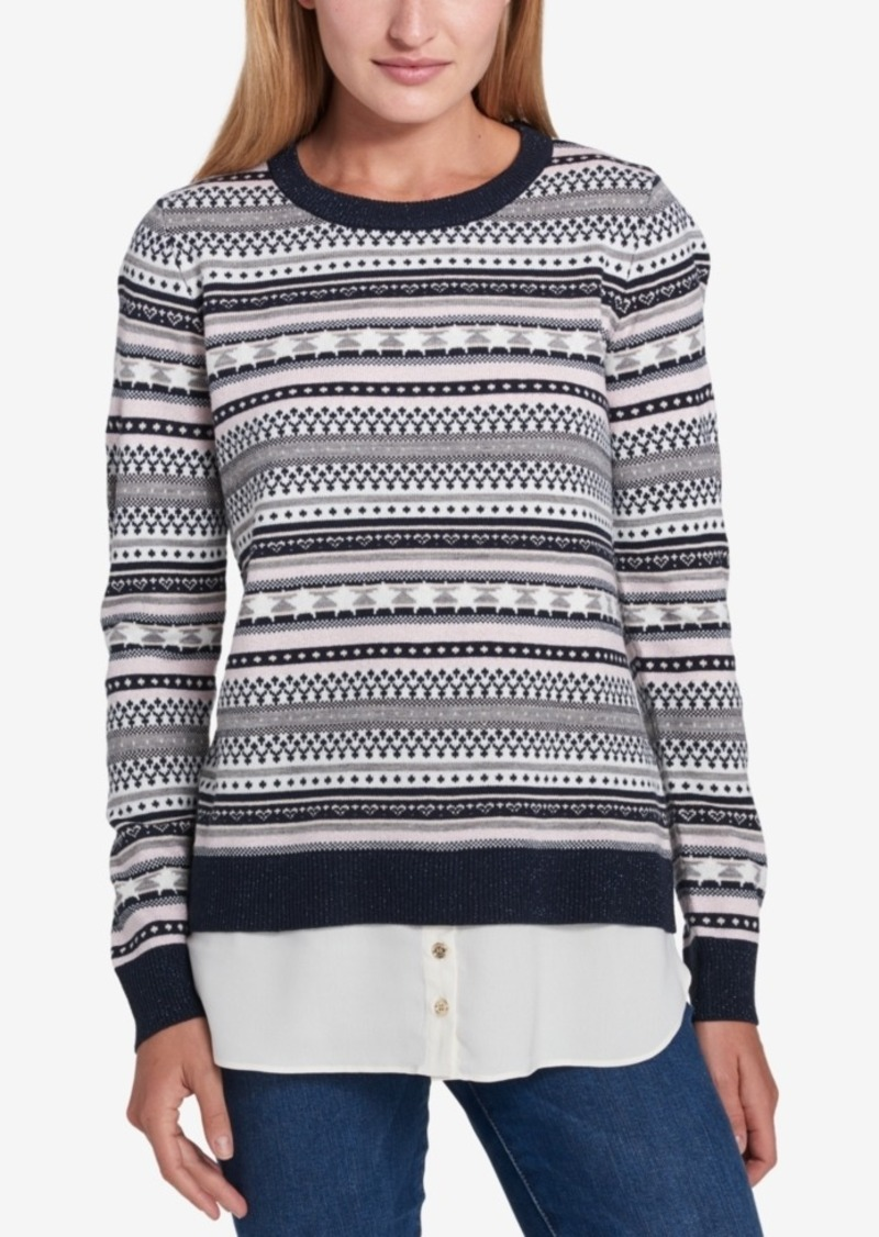 31988510e3f Tommy Hilfiger Tommy Hilfiger Layered-Look Fair Isle Sweater ...