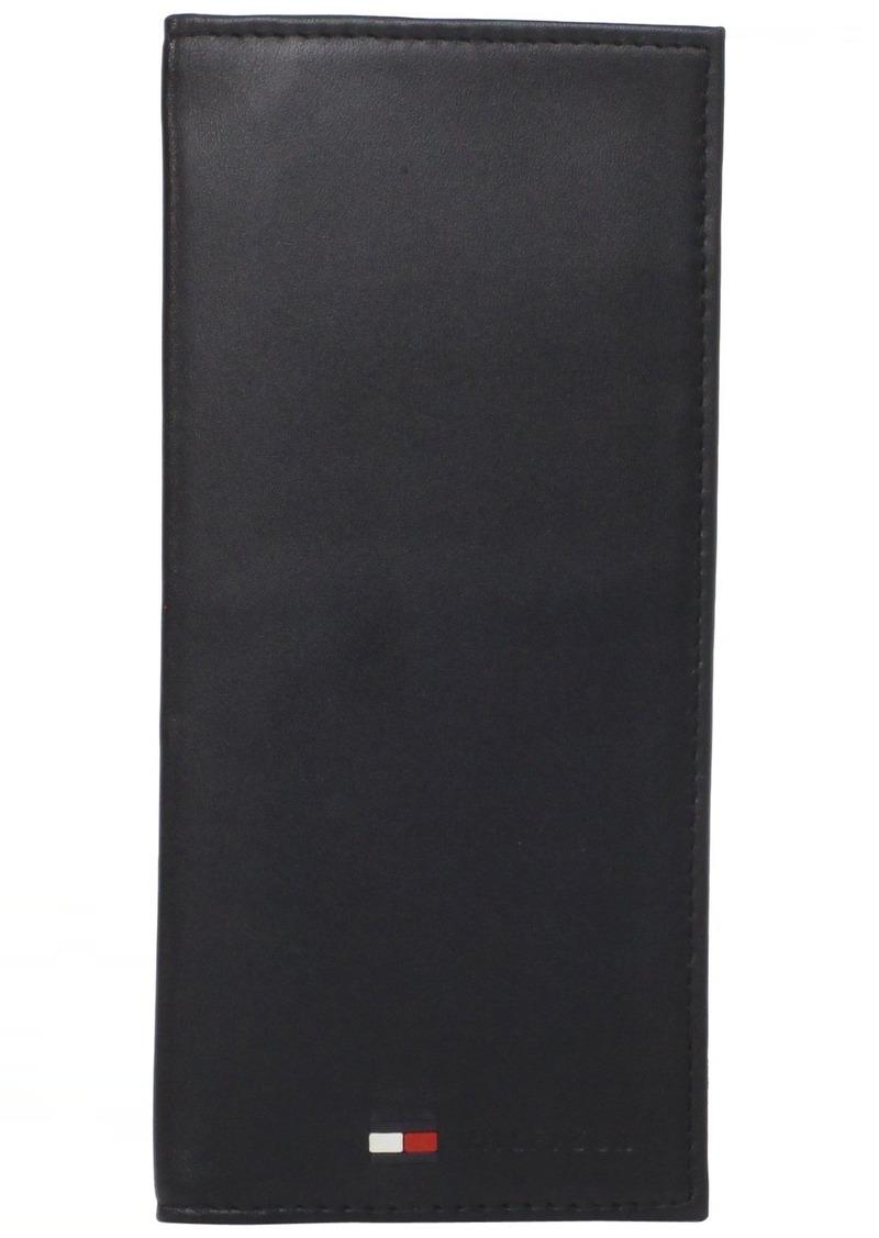 Tommy Hilfiger Leather Secretary Wallet - Slim Long Multipurpose Versatile Vertical Bifold Checkbook Cover